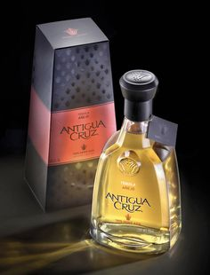 Integrated Structural & Graphic Design for a Antigua Cruz Tequila by tridimage Mezcal Tequila, Tequila Bottles, Vodka Bottle, Tequila Mexicano, My Bar, Bottle Design, Whiskey Bottle, Packaging Design, Perfume Bottles