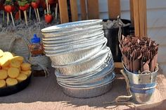 "Aluminum ""plates"" for barbecue or ""county""/""western"" themed party. GREAT idea"