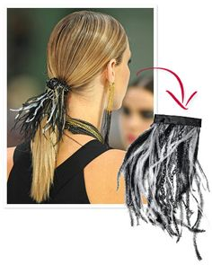 eight silver & black chains cut to length of feather trim: black ribbon to cover barrette; Hot glue feather trim to barrette. Hot-glue 1 end Feathered Hairstyles, Diy Hairstyles, Pretty Hairstyles, Fabric Flower Headbands, Lace Headbands, Hair Chains, Hollywood Hair, Barrettes, Diy Hair Accessories