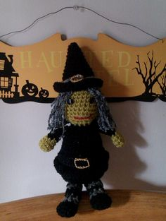 Wanda Hand crocheted amigurumi witch Halloween by MadebyMily, $15.00