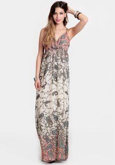 Evynn Paisley Maxi Dress 46.00 at threadsence.com