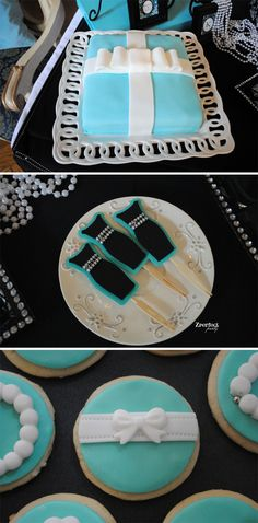 Breakfast at Tiffany's Bridal Shower from Zperfect Party! #bridalshower #weddings #bride #breakfastattiffanys #shower #tealandblack #prettymyparty #cake #cupcakes