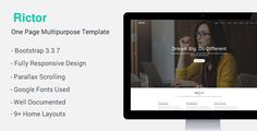 Rictor is clean one page parallax responsive and retina ready HTML template. It can be used for multiple purposes like: Creative Agency, Portfolio etc.Overall Features: 10 Home Layout Youtube Backg...