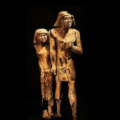 Wood was among the few rare materials that needed to be imported into ancient Egypt, yet there have been very impressive statues and small funerary objects made from this material. The best piece, although quite damaged, from the Old Kingdom (4th Dynasty) is this statue of a man and woman. The couple, due to extensive study, have been found to have been carved from the same acacia piece of wood.
