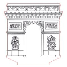 Triumphal arch 3d illusion lamp plan vector file for CNC - 3bee-studio