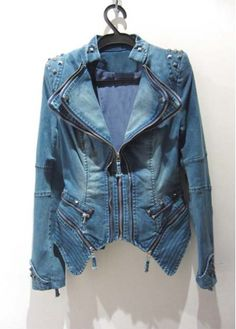 Hot Sale Zipper Closure Studded Long Sleeve Denim Coat
