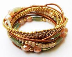 Beaded Bracelet, Triple Bracelet, Leather Bracelet, Girly Bracelet, Wrap Bracelet, Fashion Bracelet, Spring Bracelet, Bohemian Bracelet