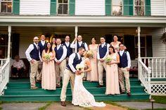 The #weddingparty + a #gallant #kiss from the #groom for the #bride! ::Alexis + Jon's delightful wedding in Princeton, Massachusetts:: #weddingphotography #harringtonfarms #harringtonfarm #MassachusettsWedding #navy #blush #pink #weddingday #weddingstyle