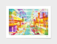 """Utopia"" artprint by Philippe Intraligi - https://www.curioos.com/product/print/utopia-2 #artprint #decoration #print #art #gift #architecture #city #3D #colors #poster"