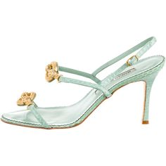 Manolo Blahnik Snakeskin Sandals ($95) ❤ liked on Polyvore featuring shoes, sandals, green, ankle tie sandals, snake skin sandals, snakeskin sandals, green shoes and green sandals