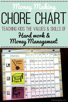Easy Chore Chart. Teach kids about work and money management.