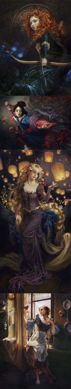Disney princesses in oil - Heather Theurer