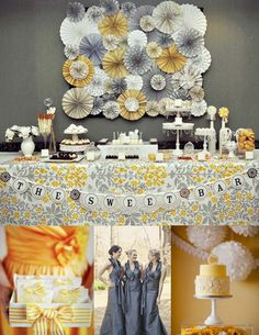 Gray & Yellow Wedding. (Also a good example of a dessert buffet). I'm still unsure about adding blue to this. I'm afraid all I would see would be UofM.