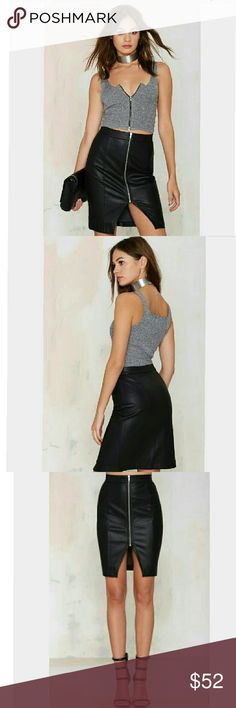 Glamorous Hold On Tight Skirt You're going to need a skirt to go with all those crop tops in your closet.  This fax leather one has an exposed front zipper,cutout at hemline ,... Nasty Gal Skirts