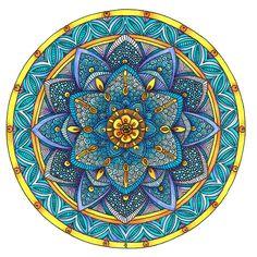Coloured Mandala 2 July 2014 by Artwyrd on DeviantArt Coloring Books, Coloring Pages, Colouring, Mandala Drawing, Mandala Pattern, Flower Of Life, Fractal Art, Sacred Geometry, Doodle Art