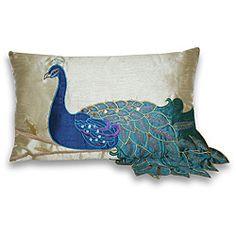 Fancy Peacock 12-inch Rectangular Pillow