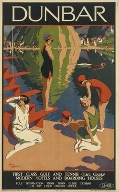 Dunbar, destino na costa sul da Escócia, retratado em cartaz de 1925 de Alfred Lambar que tem estimativa de atingir até 1,8 mil dólares (cerca de R$ 4 mil)