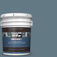 BEHR Premium Plus Ultra 5-gal. #540F-5 Smokey Blue Satin Enamel Exterior Paint