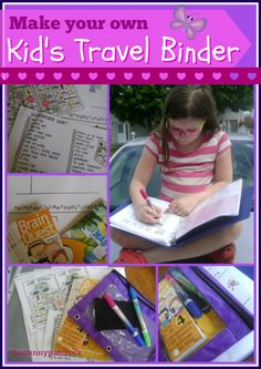 Keep your kids occupied on those long road trips with a travel binder for kids. Lot of travel binder ideas and printable ideas.