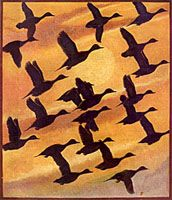 In the example on the left, the artist has used repetition of shape (the birds) to create a sense of unity in the painting. Description from principles-of-design.weebly.com. I searched for this on bing.com/images