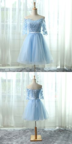 Light Blue Tulle Cockail Dress, Off The Shoulder Homecoming Dress With Lace Appliques