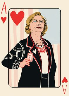 """Donald Trump's accusation that Hillary Clinton is playing the """"woman card"""" sparked multiple clever responses on social media, and one brother and sister team decided to take the memorable moment a step further by creating actual """"woman cards. Ace Of Hearts, Queen Of Hearts, Texts From Hillary, Sylvia Rivera, Wilma Rudolph, Clinton Campaign, Joker, Deck Of Cards, Card Deck"""