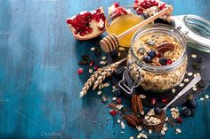 Breakfast with rolled oats granola by Saschanti on @creativemarket