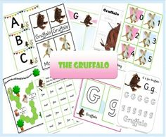 """""""Printables"""" - Gruffalo Preschool Pack - Includes Letter Recognition/Alphabet Cards, Playdoh Letter Mats, Printing Sheets, Word Recognition Sheets, Lower Case/Upper Case Letters, Word Recognition, Adjectives, Number Recognition/Word Recognition and More..."""