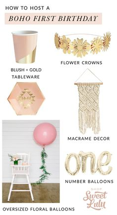 Shop for modern & chic boho party supplies! Bohemian Party Decorations, Girl Birthday Decorations, Birthday Ideas, Baby Shower Flowers, Boho Baby Shower, Rose Gold Party Supplies, Baby Balloon, Baby First Birthday, Baby Shower Parties