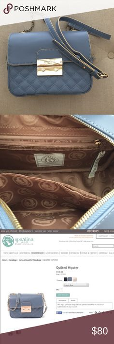 Spartina 449 French Blue Quilted Leather Bag -Excellent condition. Used Only One Time! -Genuine quilted and matte leather detail -Golden exterior push lock enclosure with Spartina debossed insignia -Adjustable crossbody golden chain and leather strap -Zipper enclosure hidden beneath exterior fold -Spartina jacquard interior lining Spartina 449 Bags Shoulder Bags