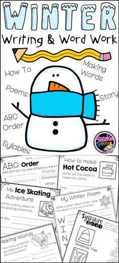 """Make writing fun this winter with these winter writing and word work pages! Activity pages include """"how to"""" writing, story writing, acrostic poetry, abc order, making words and syllables. #TeacherGems"""