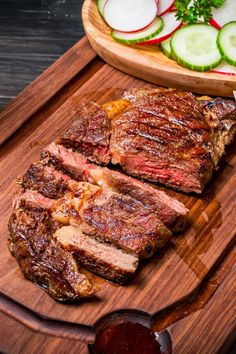 Rib-Eye Steaks In Korean Marinade - Made with mirin soy sauce sugar garlic scallions crushed red pepper toasted sesame oil kosher salt black pepper rib-eye or market steaks Grilled Fish Recipes, Healthy Grilling Recipes, Veggie Recipes, Beef Recipes, Cooking Recipes, Korean Recipes, Smoker Recipes, Veggie Food, Recipes Dinner