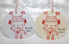 Set of 6 thank you robot tags in your choice of ink color, shape (scallop or rectangle) and base color (ivory or white). Scallops measure 3