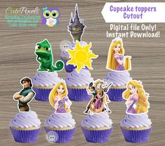 Tangled cupcake toppers, Princess Rapunzel Cupcake Toppers, Tangled Birthday, Rapunzel Topper, Disney Princess Birthday decor, Cutouts by CutePixels on Etsy