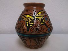 Handetched Navajo Pottery Native American Indian Pueblo Butterfly by D Eskeets