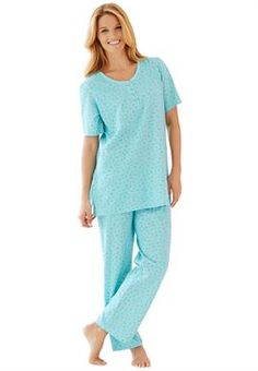 Knit pj set by Dreams & Co.® with pretty floral print, Henley top | Plus Size Pajamas | OneStopPlus