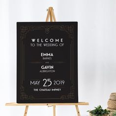 Art Deco Wedding Welcome Sign Black and Gold Wedding Sign   Etsy