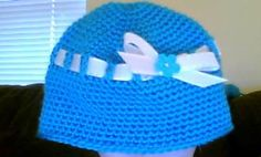 bow hat-blue