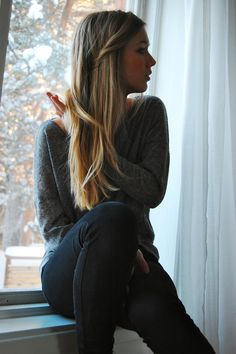 straight, simple hair. and a sweater.