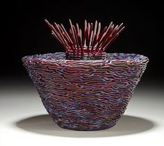 Woven glass basket - basketry art by Demetra Theofanous
