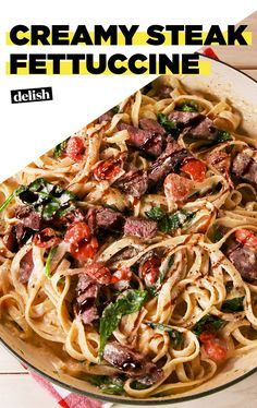 You'll want to eat this Creamy Steak Fettuccine right out of the skillet. Get the recipe at Delish.com. #recipe #easyrecipe #easy #pasta #steak #spinach #tomato #alfredo #cheese #dinner #easydinner #dinnerrecipe #fettuccine #balsamic #comfortfood
