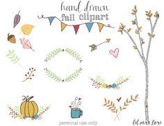 Hand Drawn Fall Clipart plus free printable by Lil Mrs. Tori