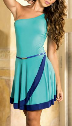 Turquoise Color Block Asymmetrical Dress! If I was young had a body to wear this I would! Love it!