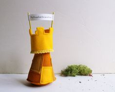 Felt yellow tower  My kindom for your love  gift for by Intres,