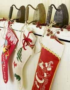 Old irons as stocking holders