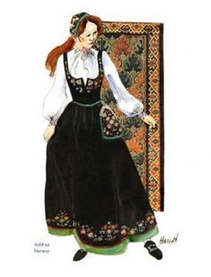 Valdres Lady black & green bunad Folk Costume, Costumes, Cultura General, Dress Illustration, Swedish Style, Bridal Crown, Celebs, Celebrities, Modest Outfits