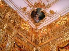 """"""" Reconstructed Amber room detail The Amber Room in the Catherine Palace of Tsarskoye Selo near St. Petersburg (Russia) is a complete chamber decoration of amber panels backed with gold leaf and. Peter The Great, Catherine The Great, Amber Room, Winter Palace, Summer Palace, Rococo Style, Amazing Destinations, Beautiful Interiors, Architecture Details"""