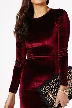 Long Sleeve Velvet Dress In Red   Genuine People