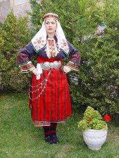 LOCAL TRADITIONAL COSTUME OF NEOCHOROUDA – PENTALOFOS Greek Traditional Dress, Traditional Outfits, Folk Costume, Costumes, Macedonia Greece, Greek Fashion, Alexander The Great, Albania, Bulgaria