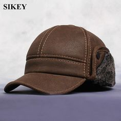 HL083  New New Fashion Men's Scrub Genuine Leather baseball Winter Warm baseball Hat / Cap 2colors #clothing,#shoes,#jewelry,#women,#men,#hats,#watches,#belts,#fashion,#style